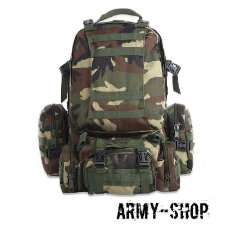 Тактический рюкзак с тремя подсумками Molle Assault Tactical Light (реплика)/Woodland