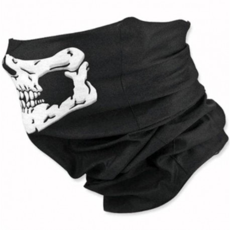Бафф (Шарф-маска) черный/череп белый
