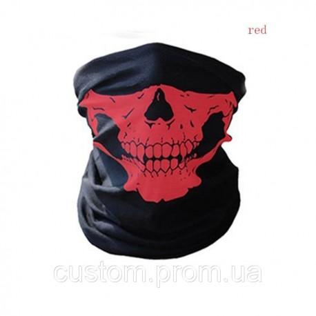 Бафф (Шарф-маска) черный/череп красный