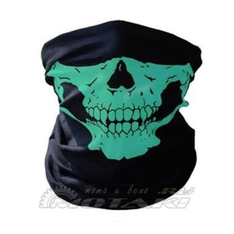Бафф (Шарф-маска) черный/череп зеленый
